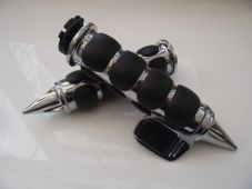 Chrome alloy grips black pike end and large throttle assist for 1 inch bars 043
